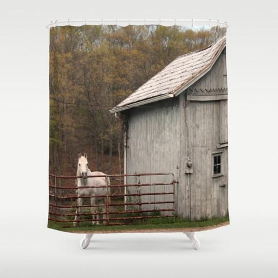 Grange et cheval, rideau de douche, brun, vert, blanc, rideau de ...