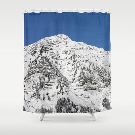 Japonais Style Architectural Mountain Salle de Bains Rideau De Douche Tissu /& 12 Crochet