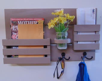 Magazine Holder - Mail Organizer - Wood - Wall Hanging - Mail Holder - Key Hooks - EntryWay Organizer - Coat Hooks - Jar
