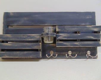 Entry Way Organizer - Magazine Holder - Distressed Wood - Mail and Key Holder