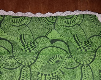 Lace Edged Green Throw Pillow