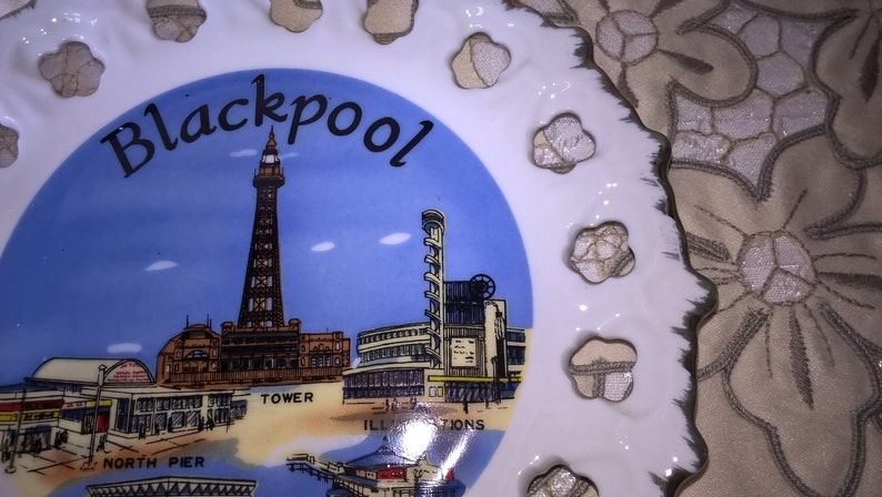 decorative plate South Pier Picture showing the Tower ribbon Illuminations Souvenir of Blackpool reticulated Central Pier North Pier