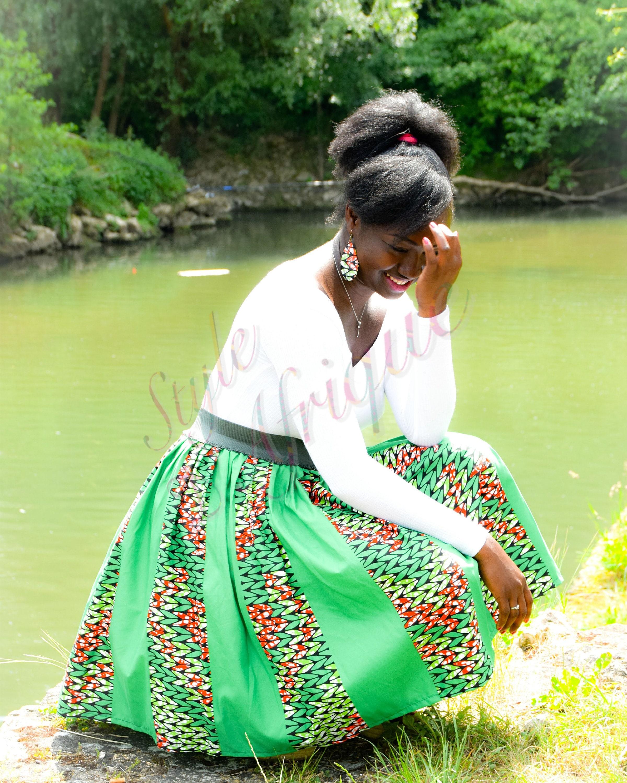 Jupe en tissu africain pagne wax Jupe africaine imprimée Jupe   Etsy
