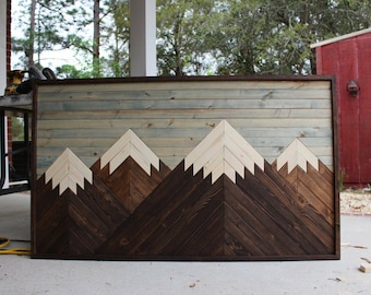 Gordon Peak // Mountain Wood Art,Modern Wood Art,Wood Wall Art,Mountains,Mountain Art,Geometric Wood Art,Rustic Home Decor,Farmhouse Decor