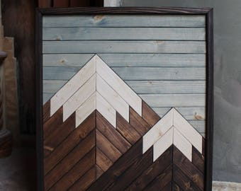 Revell Mountain // Cabin Decor,Modern Wood Art,Wood Wall Art,Mountain Art,Geometric Wood Art,Rustic Home Decor,Farmhouse Decor, Rustic Decor