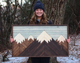 Mount Laurel // Mountain Wood Art,Cabin Decor,Wood Wall Art,Mountains,Mountain Art,Geometric Wood Art,Rustic Home Decor,Farmhouse Decor