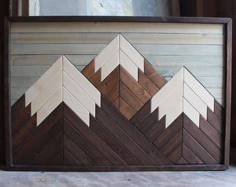 Mount Shulhan // Mountain Wood Art,Modern Wood Art,Wood Wall Art,Mountains,Mountain Art,Geometric Wood Art,Rustic Home Decor,Farmhouse Decor