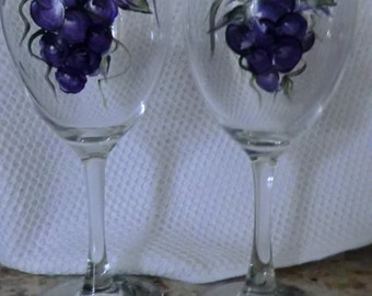 Hand Painted Wine glasses set of two