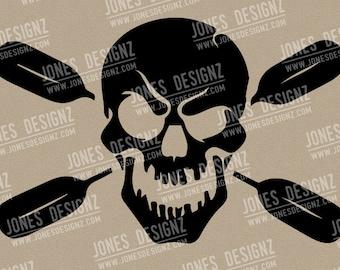 Skull Paddle Kayak, SVG, EPS, Vector, Cutfile, Instant Digital Download