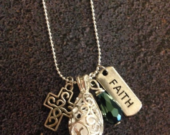 Faith Cross Essential Oil Diffuser Necklace