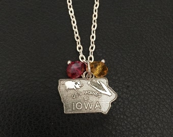 Iowa State Cyclone state of Iowa necklace with red and yellow gems