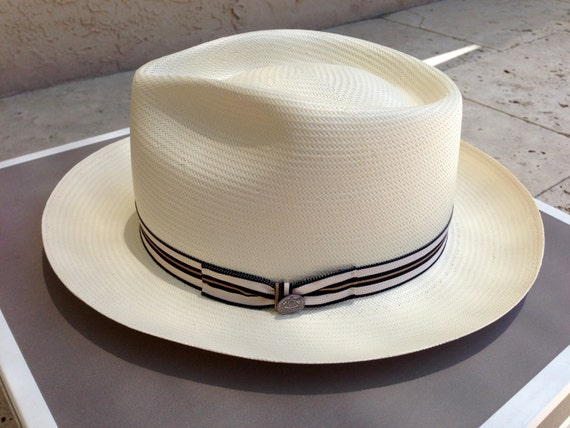 f29c6ba8f894a Items similar to Stetson MONTICELLO Superfino Shantung Panama Fedora -  natural - 7.3 8 on Etsy