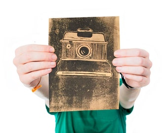 Vintage camera - Linogravure - Estampe - Design graphique