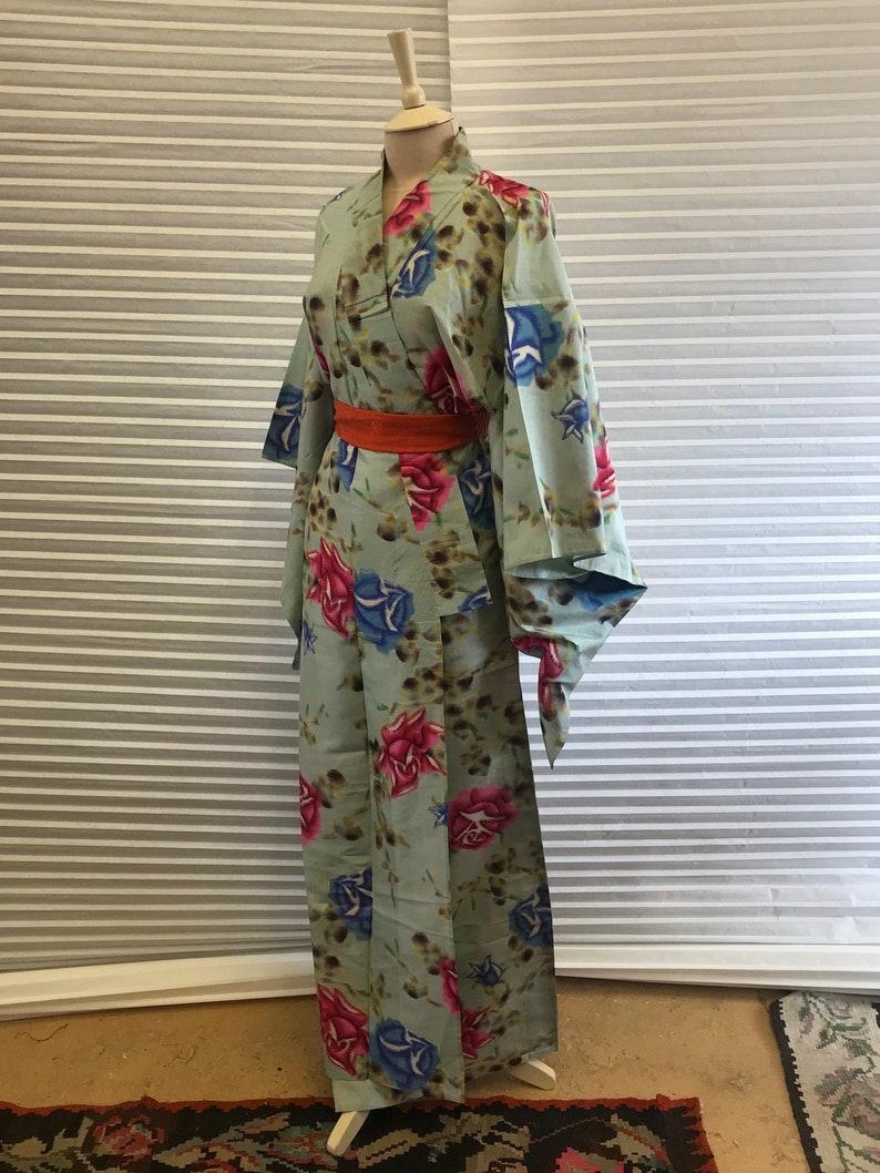 Vintage Floral Rose Silk Meisen Kimono