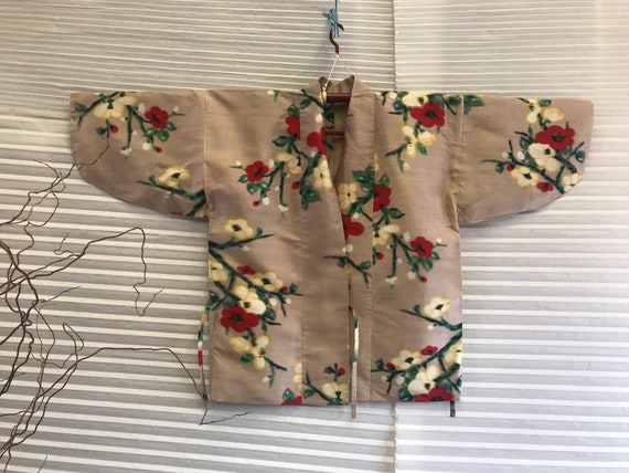 Vintage Silk Meisen Cherry Blossom Haori Kimono