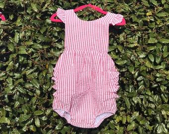 4776197b Monogrammed Girls Red Seersucker Ruffle Romper Sunsuit, Personalized for  girls, toddler seersucker romper, spring summer romper