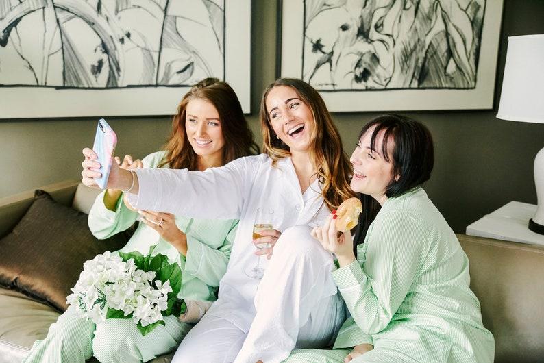 wedding night Monogrammed White Seersucker Bridal Pajama Pant Set personalized sleepover bridesmaids