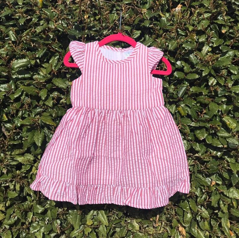 Girls Red Seersucker Dress