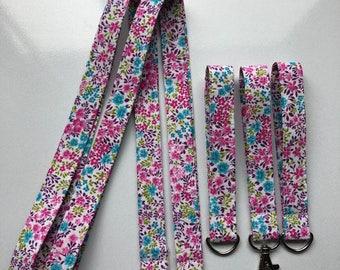 Vibrant Floral Fabric  Lanyard
