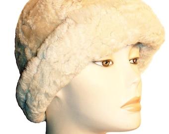 NEW White Vintage Retro Round Sheepskin Shearling Fur Hat Real KATZ Leather warm