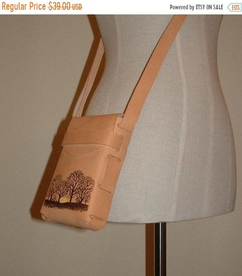 ON SALE Handmade Leather Purse Cross Body Sling Bag Cowhide image 0