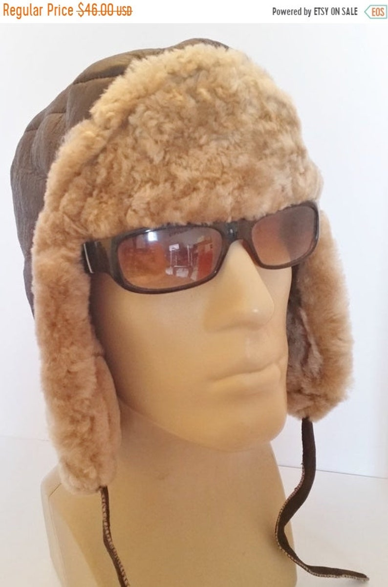 men/'s Sheepskin Russian Bomber Aviator Russian Hat  in one Real Leather NEW