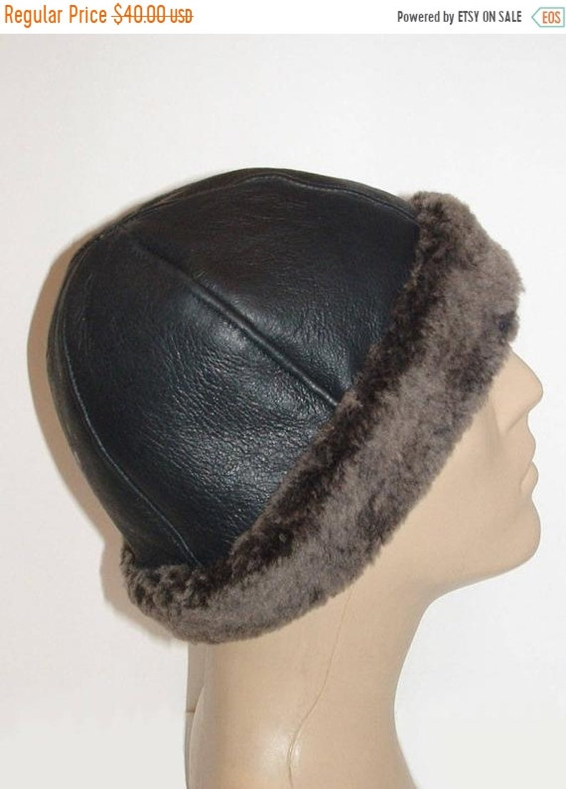 38e86297e0a4be ON SALE NEW Black Leather Grey Wool Round Sheepskin Shearling | Etsy
