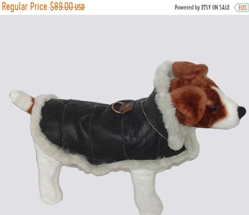 ON SALE Genuine Sheepskin Dog Coat  Real shearling handmade. image 0
