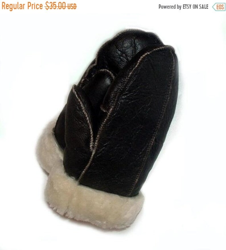 ON SALE Sheepskin shearling Mittens image 0