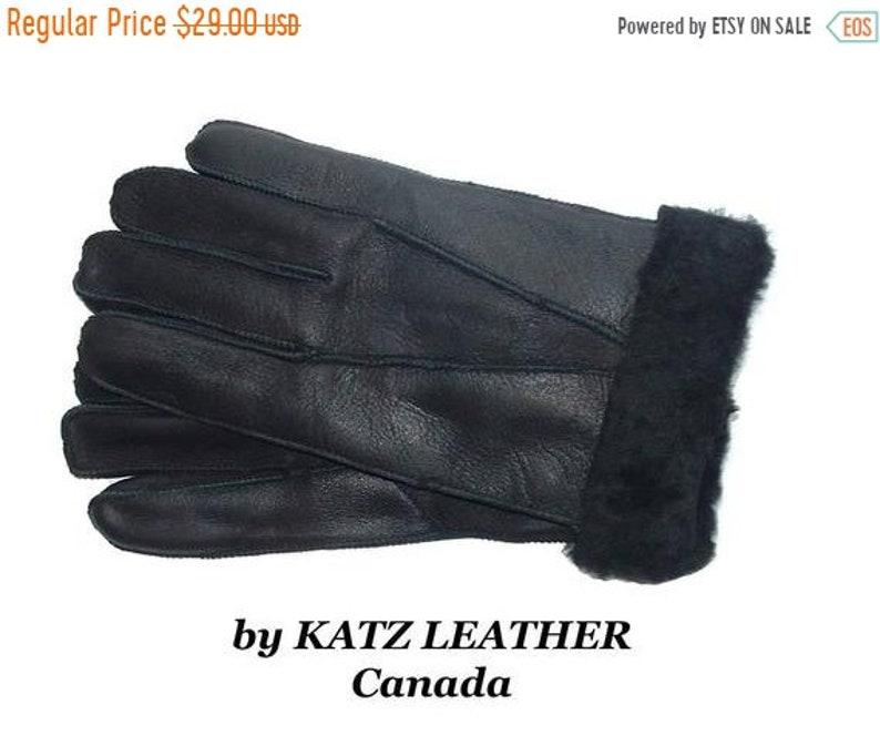 ON SALE Warm Black Sheepskin Shearling Gloves Unisex for men image 0