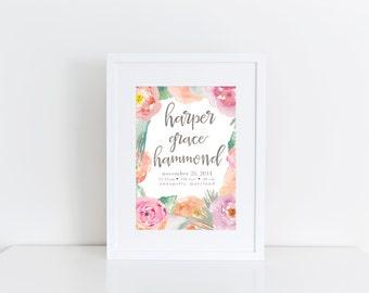 Floral Birth Announcement Nursery Wall Art * Printable Wall Art * Watercolor Calligraphy * Custom Nursery Art