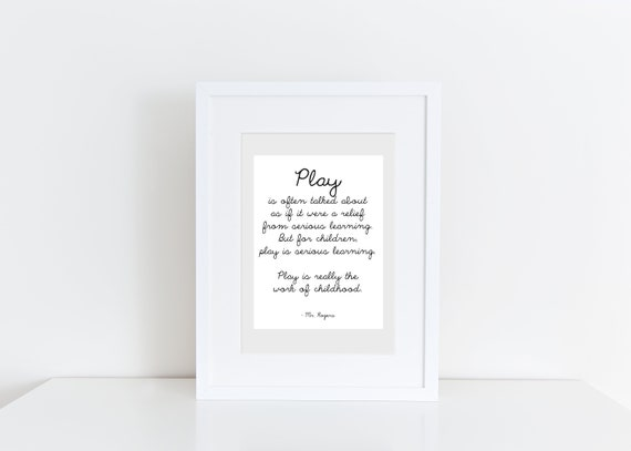 Mr  Rogers Quote Play Is Serious Learning Printable | Etsy