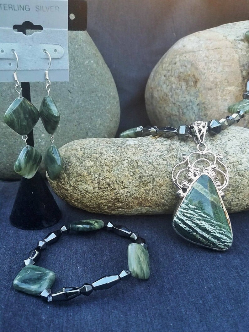 Seraphinite wSeaweed Stone with Sterling Silver Therapeutic* Magnetic Jewelry Set SALE!!