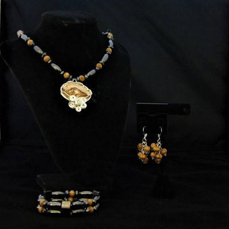 Picture Jasper Pendant Therapeutic* Magnetic Hematite Wire Wrapped Jewelry Set