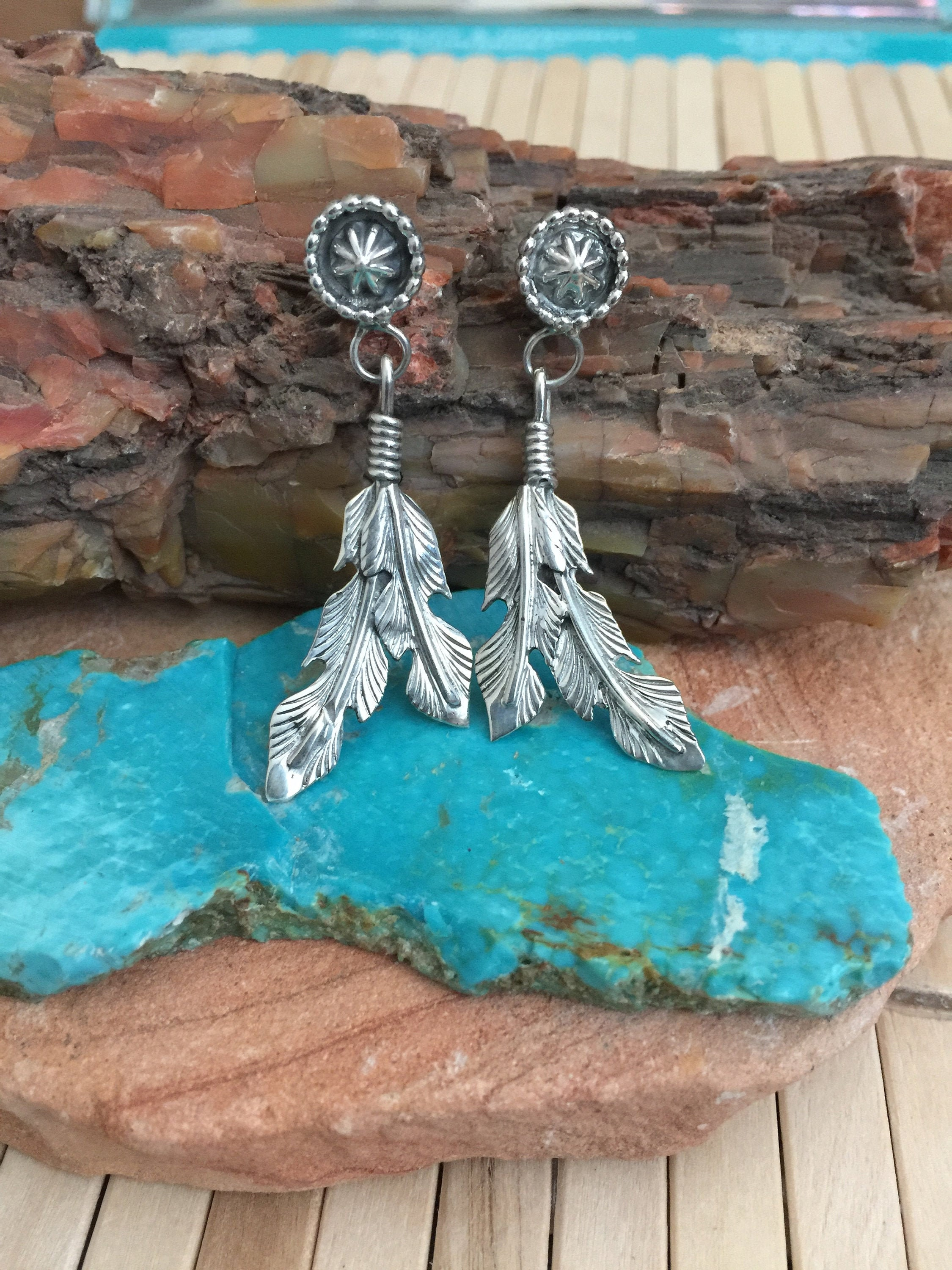 Navajo Indian Jewelry Sterling Silver Turquoise Coral Feather Earrings Shorty