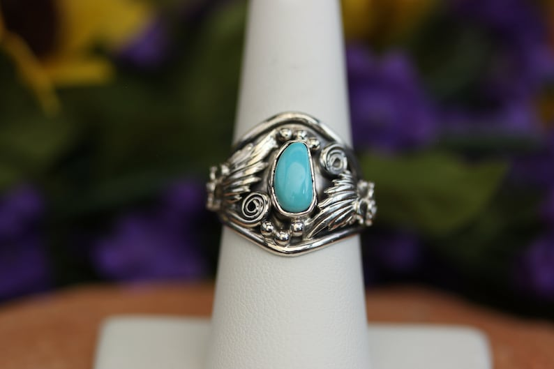 Native American Sterling Silver Turquoise Ring Size 9 By Roger Pino
