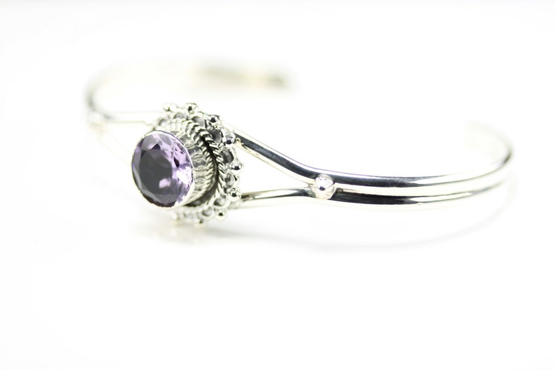 Native American Indian Jewelry Sterling Silver Amethyst Cuff Bracelet