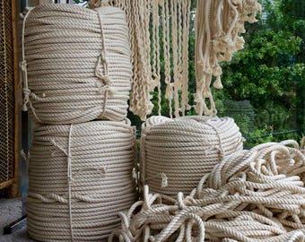 Macrame Rope Natural Cotton Extra Large, 100 ft | Giant Cotton Macrame Rope | Macrame Craft Supplies | Macramé Hanging | Macrame Supplies