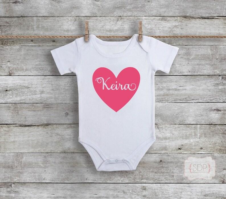 Personalized Bodysuit Newborn baby gift Heart Bodysuit Pink First Birthday Custom Bodysuit First Birthday Baby Girl Birthday