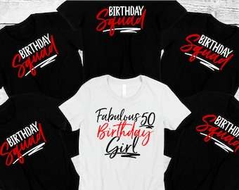 50th Birthday Party Squad Tee Shirt Girls Night Out Shirts