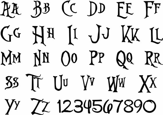 Nightmare Before Christmas Fonts.Nightmare Before Christmas Font Ttf Svg Dxf Nightmare Before Christmas Font Svg Cricut Silhouette Ms Office Etc
