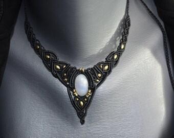 Moon stone macrame necklace boho chic, goddess, healing stone, steam punk, handmade jewellery by Mani macrame