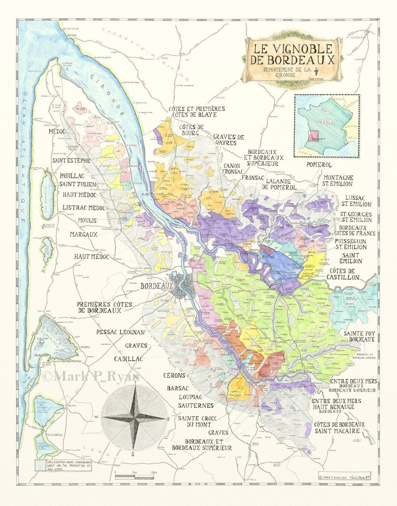 Map Of France Bordeaux.Bordeaux Wine Map France Wine Map Bordeaux Wine Region Map Etsy