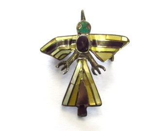 Vintage Southwestern Sterling Silver Gemstone Inlay Bird Pin Brooch