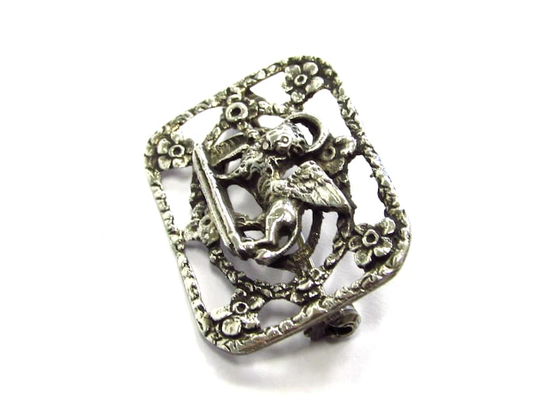 Mark Pin Brooch with Floral Border Antique Victorian 80/% Silver Stunning Lion of St