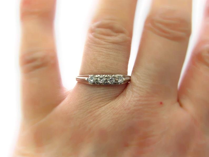 size 7 Vintage 14k White Gold 4-stone Diamond Anniversary Band or Wedding Ring