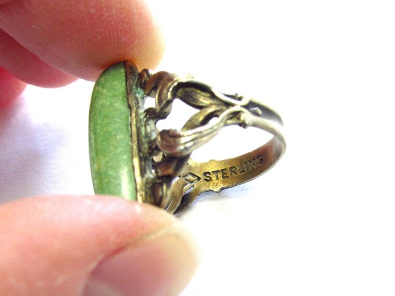 Antique Art Nouveau Sterling Silver Oval Turquoise Cabochon Ring with Leafy Band size 3 12