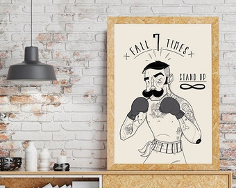 fall 7 times stand up 8r men art for men art print poster victorian boxer beard mustache tattoo drawing black and white