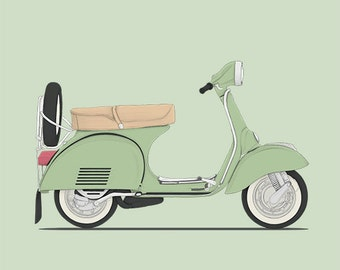 classic vespa scooter italian mint green illustration drawing art print poster classic cars illustration serie