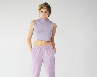90s Vintage Lilac Pants - Pockets, Light Corduroy, High Waisted, Trousers, Purple